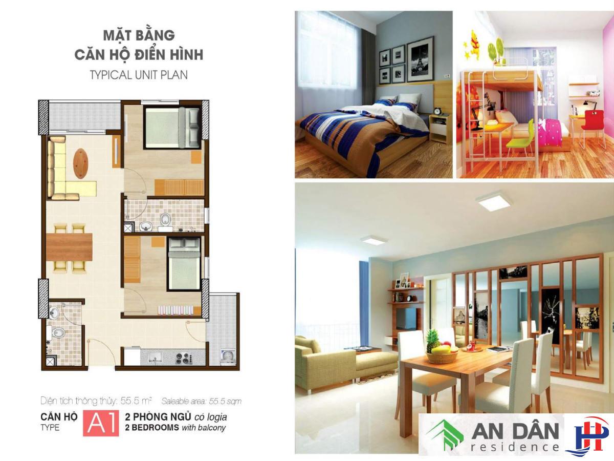 Thiết kế căn hộ An Dân Residence loại A1