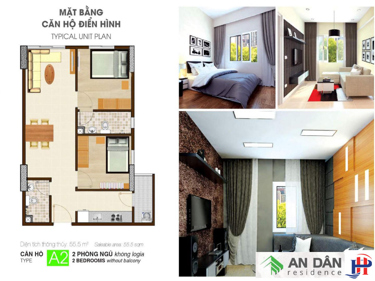 Thiết kế căn hộ An Dân Residence loại A2
