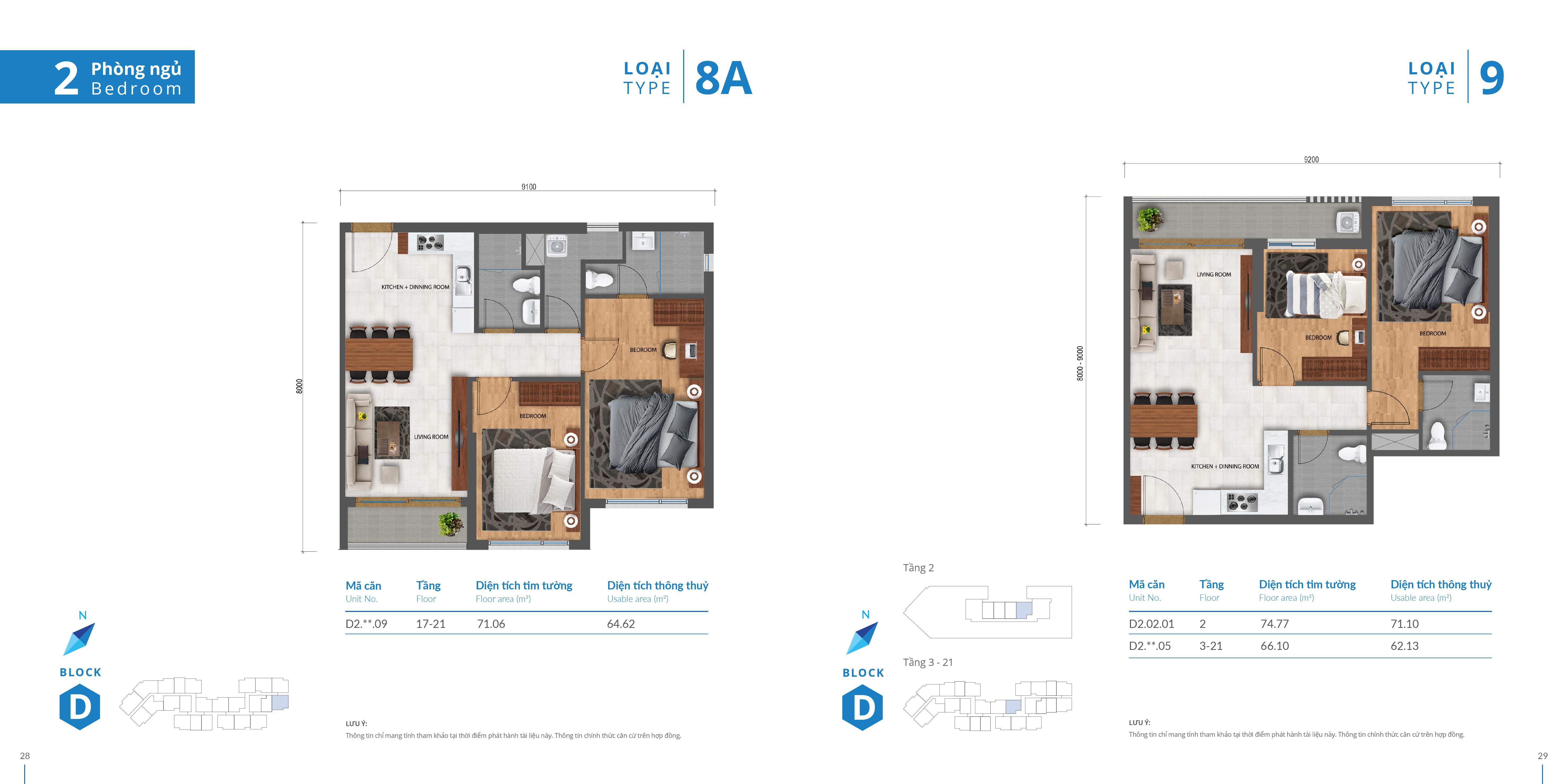 thiết kế căn hộ safira 2 phòng ngủ