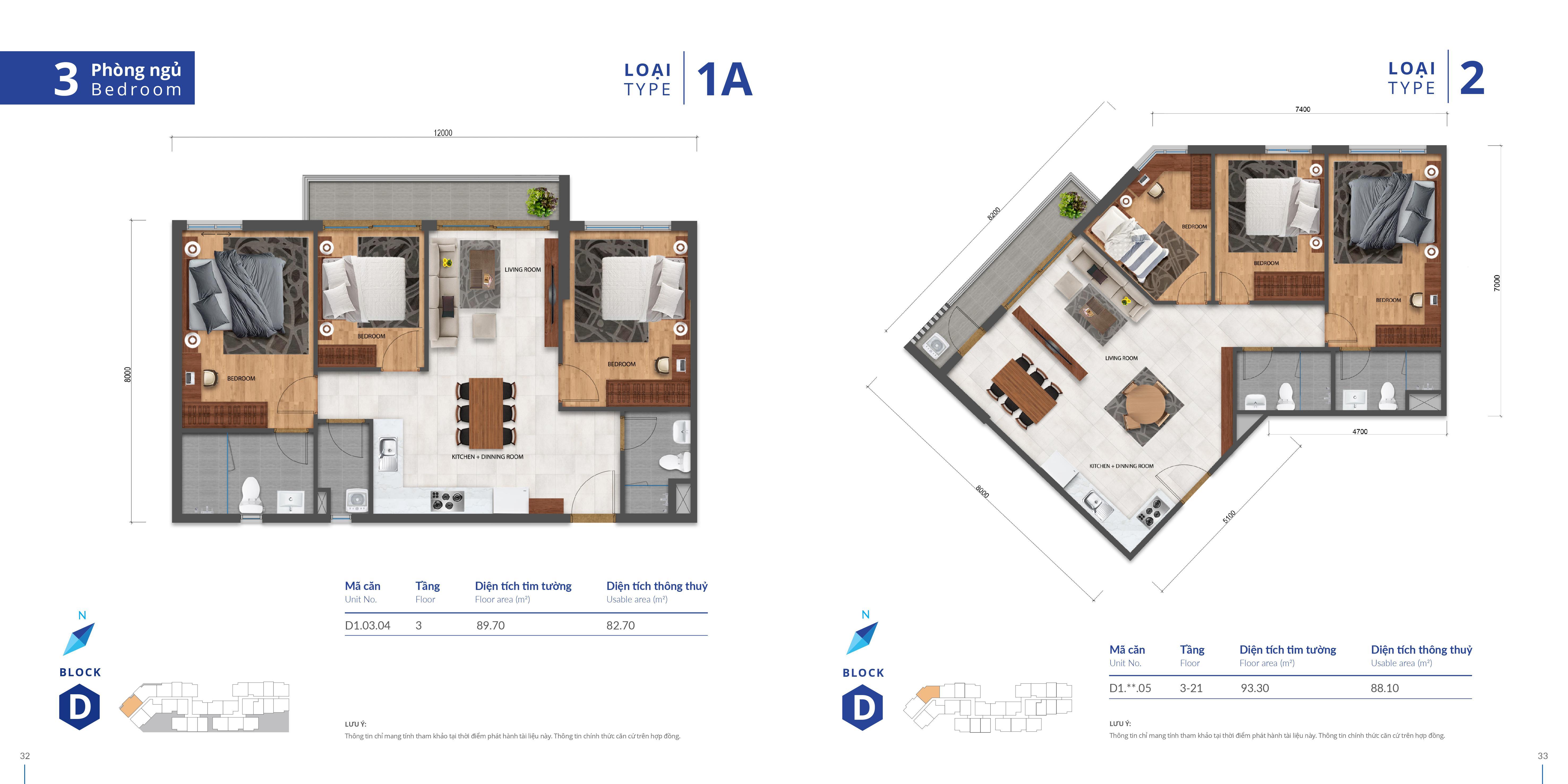 thiết kế căn hộ safira 3 phòng ngủ