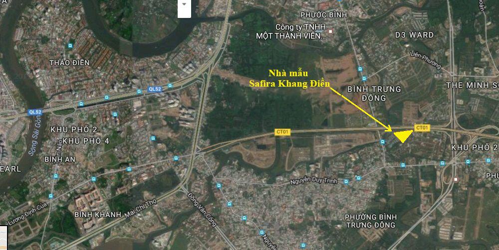 vị trí nhà mẫu Safira Khang Điền