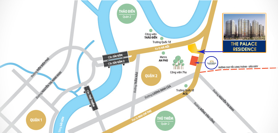 vị trí dự án palace residence quận 2