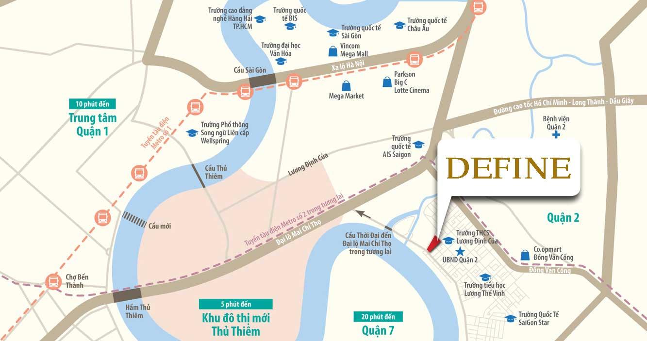 Vị trí dự án căn hộ Define quận 2
