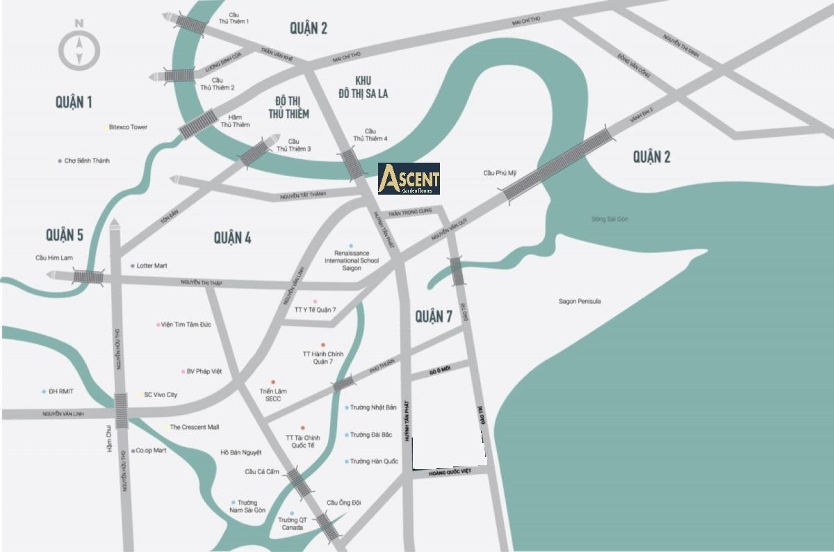 Vị trí chung cư Ascent Garden Homes Quận 7