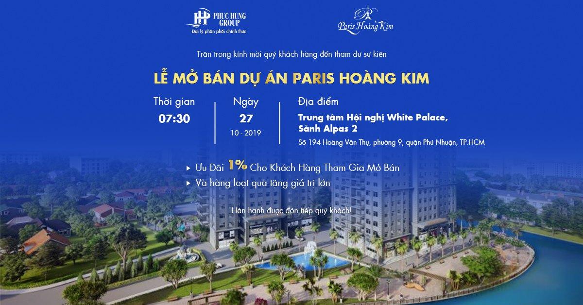 Thư mời Lễ mở bán căn hộ Paris Hoàng Kim