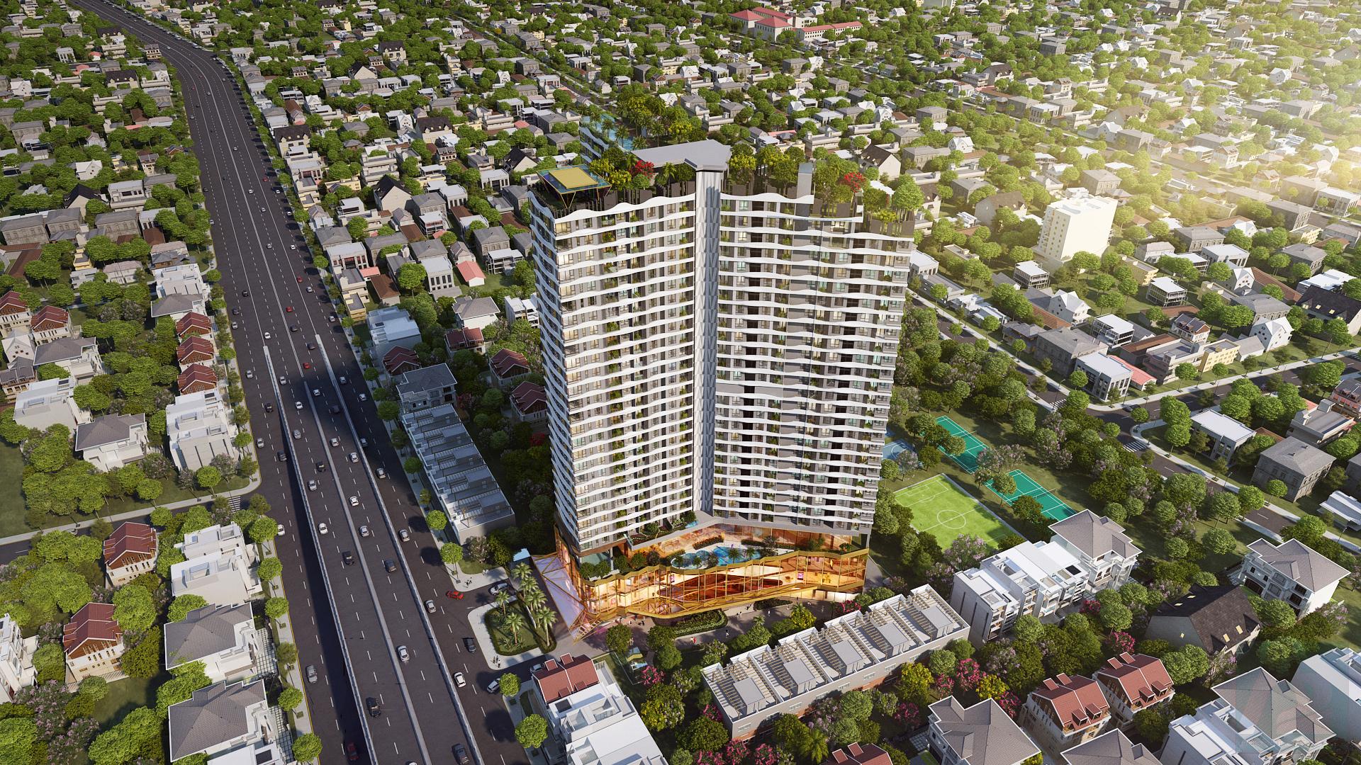 Thiết kế kiến trúc chữ Nhân vượng phong thủy của dự án D-Hommme quận 6