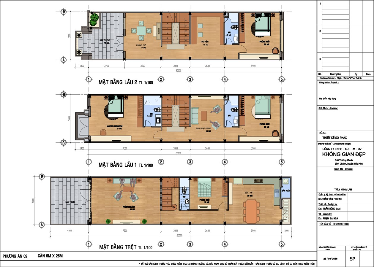 Mặt bằng nhà phố Champaca Garden 1 trệt + 2 lầu