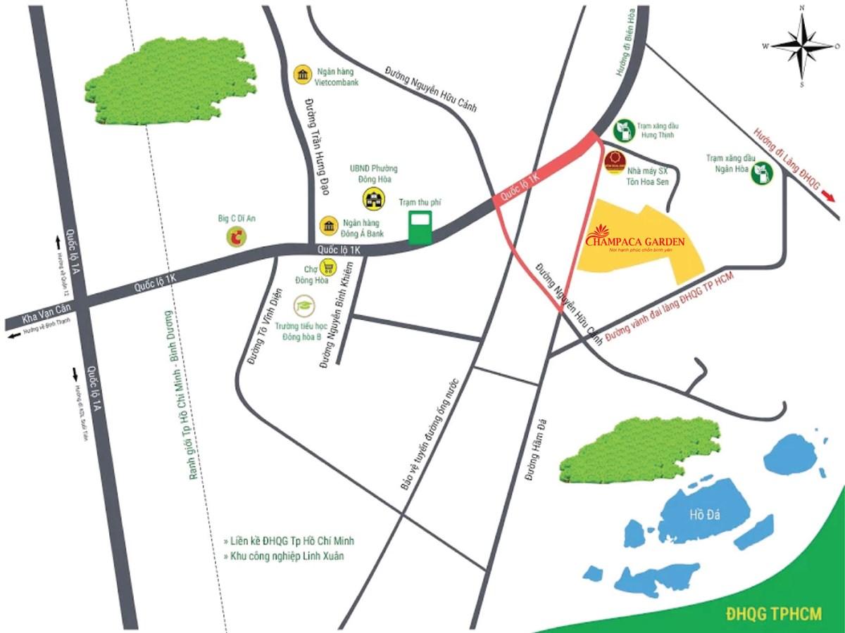Vị trí dự án khu đô thị Champaca Garden
