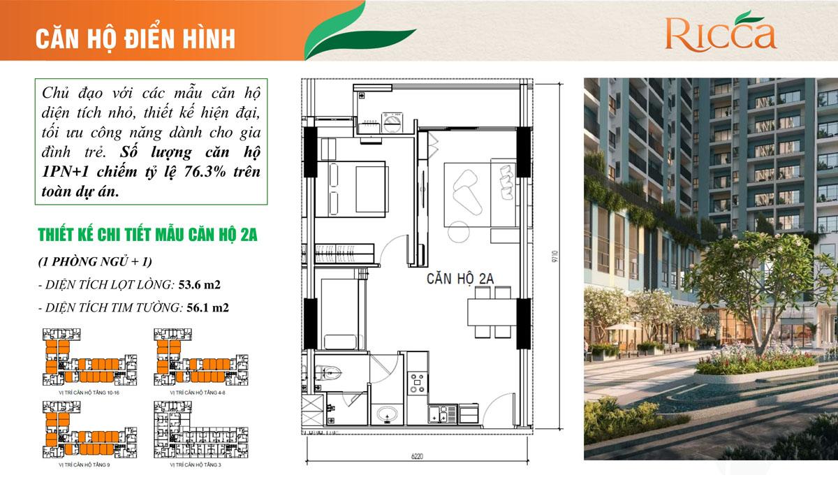 Thiết kế căn hộ điển hình Ricca 1PN+1