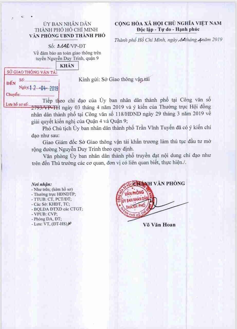 Công văn chấp thuận mở rộng đường Nguyễn Duy Trinh, dự án Ricca sẽ được hưởng lợi