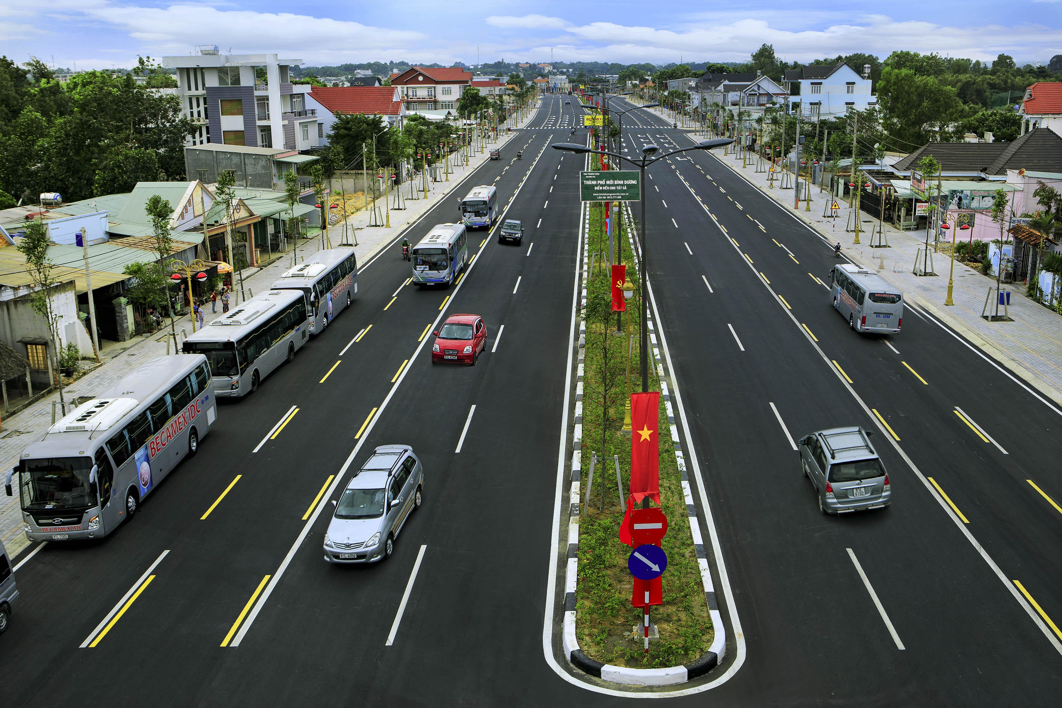 Con đường vào thành phố mới Bình Dương